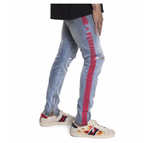 Homme Femme- Striped Logo Denim (Blue Wash)