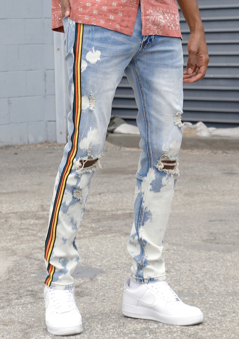 Tri-Striped Org Bleached Denim (Medium Blue) /C1