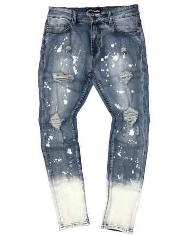 Bleached Denim Ombre Jeans (Light Blue) /C9