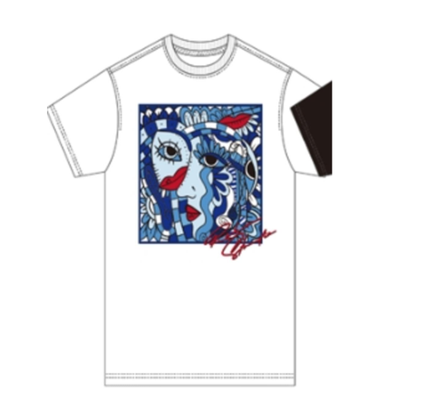Abstract Blue Period Tee (White)