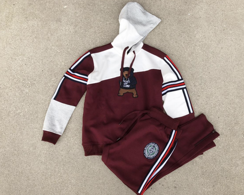 Stripes and Bear Hoodie Set (Burgundy) /D14
