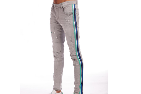 Distressed Blue Stripe Denim (Ice Grey) /C3