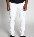 Destroyed Knee Ankle Zip Denim (White) /C9
