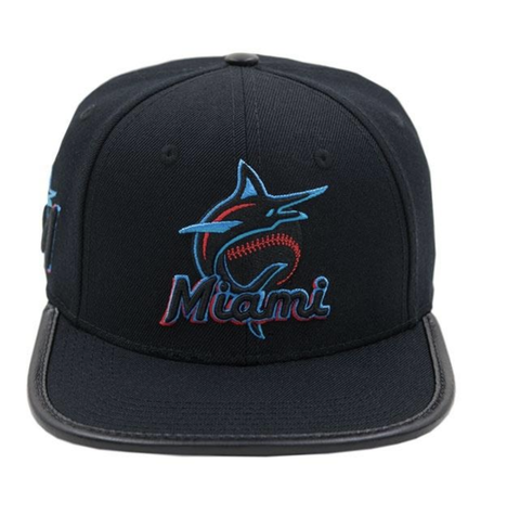 Miami Marlins Club Logo Hat (Black)