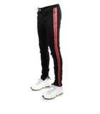 503 Red Stripe Zipper Denim (Black) / C6