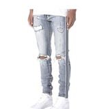 503 Black Stripe Ankle Zipper Denim (Light Wash) / C6