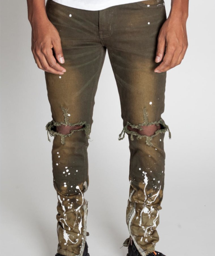 Splashed Ankle Zip Denim (Olive) / C7