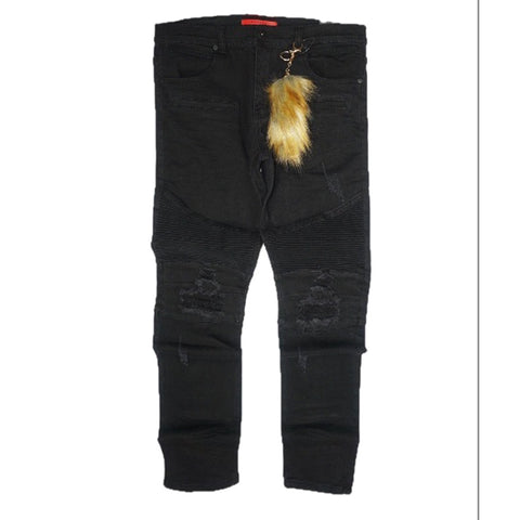 Biker Denim Jeans w/Fur KeyChain (Black)/C7