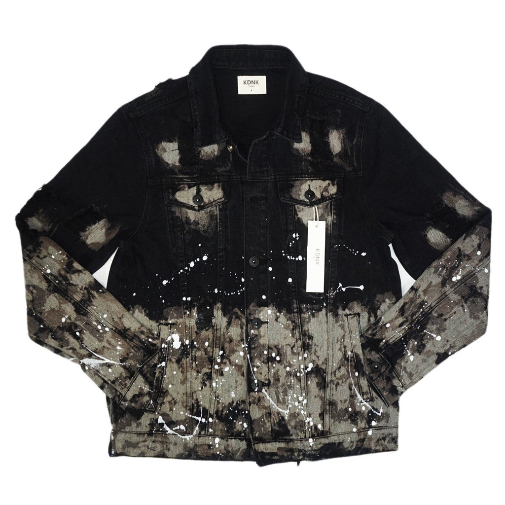 Paint Splatter Denim Jacket (Black) /D7