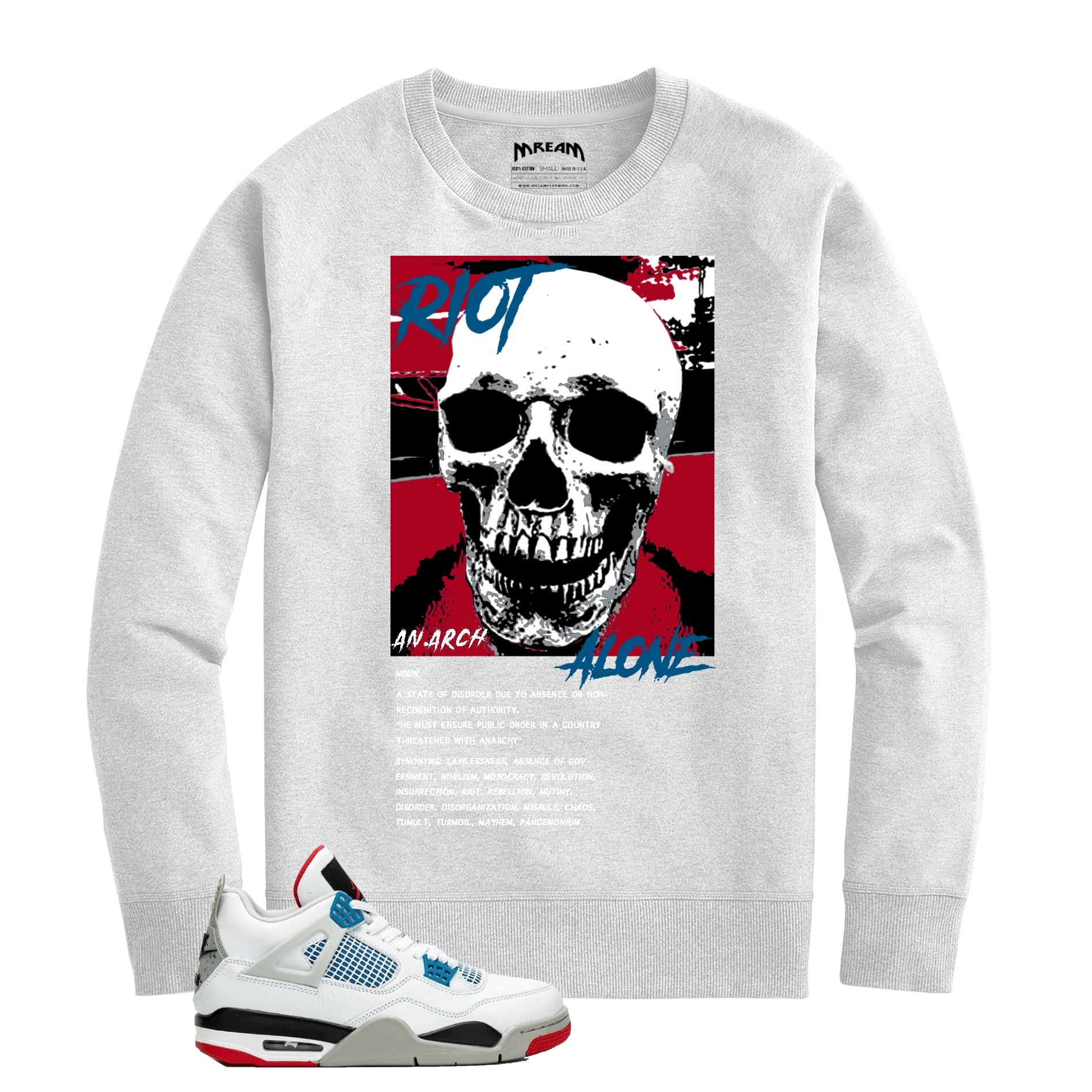 Riot Alone Red/Blue Crew (White) /D3