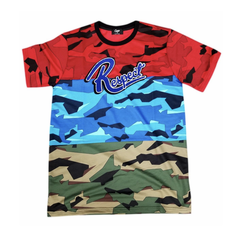 Respect Camo Split Tee (Red/Blue/Camo) / D15