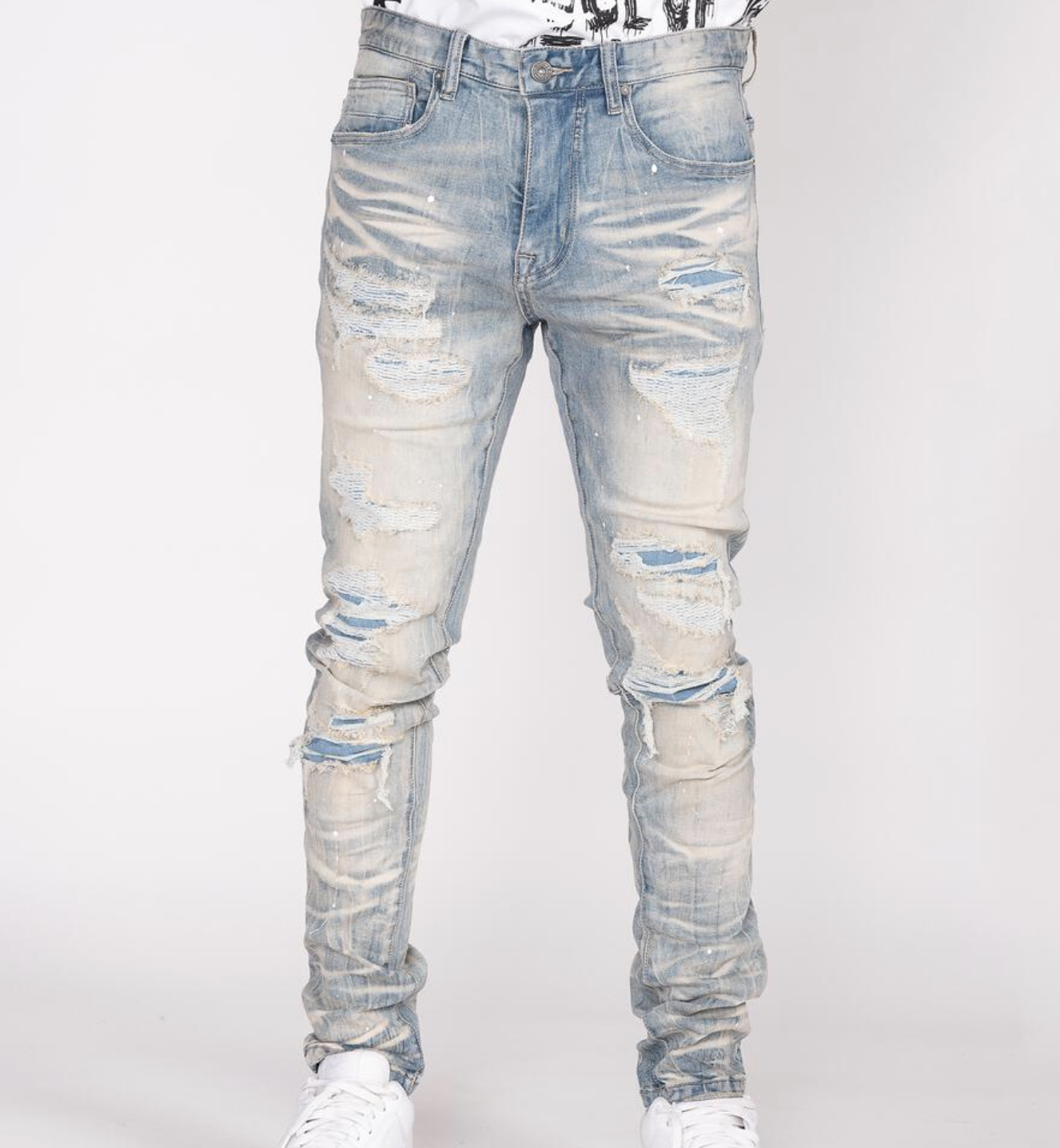 Distressed Rip & Repair Denim (Milky Blue) / C3