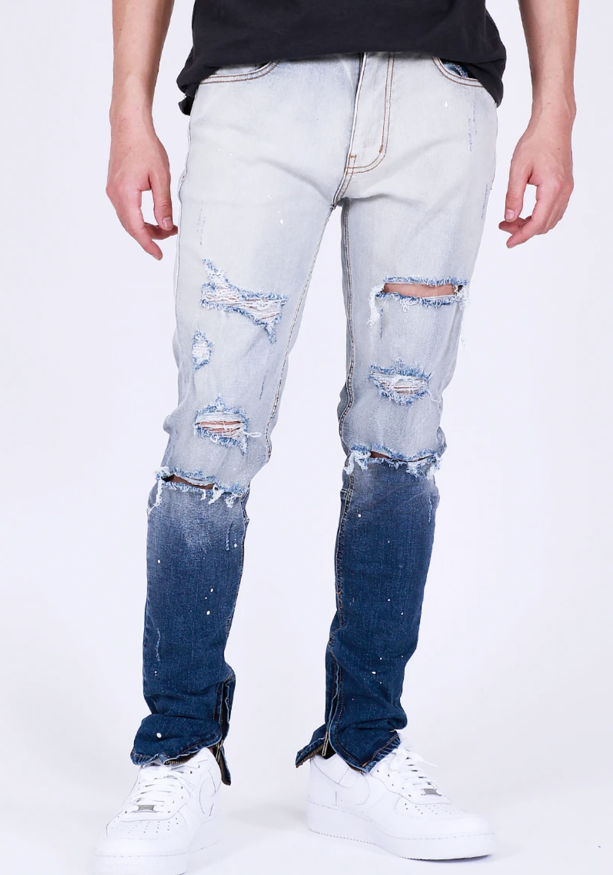 Splatter Bleached Ombre Denim (Blue) /C4