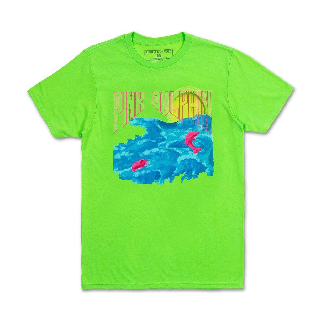 Water Color Sunrise Tee (Neon Green)
