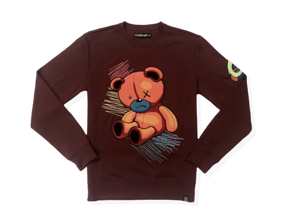 Scribble Bear Crewneck (Burgundy) /D18