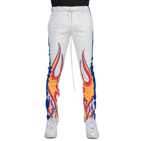 Flame Techno Track Pants (White/Royal) / D12