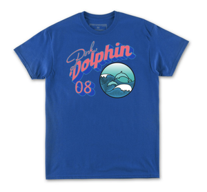 Pink Dolphin - Portrait Bubble Tee (Blue)