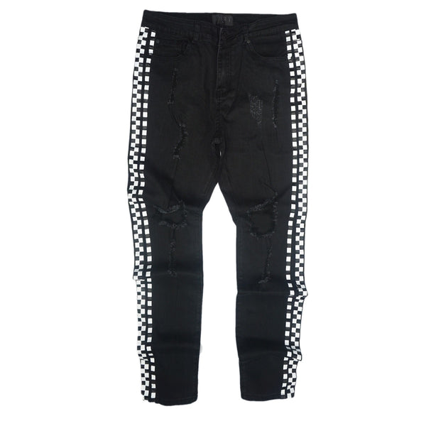 Distressed Side Checkers Denim (Black) /C