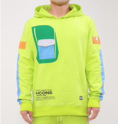 Stacked Pocket Hoodie (Neon Yllw) /D?