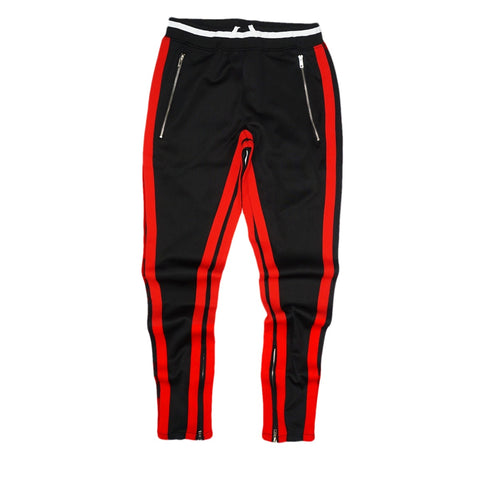Double Striped Track Pants V2 (Black/Red)
