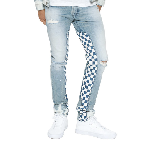 Rocker Slim Checkered Denim (Blue) /C6