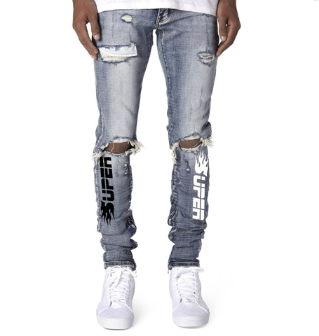 506 Distress Zipper Super Jeans (Blue Wash) /C3