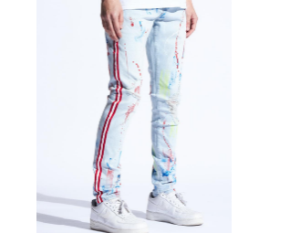 Kate Red Stripe Paint Splatter Denim (Lt. Wash) / C2