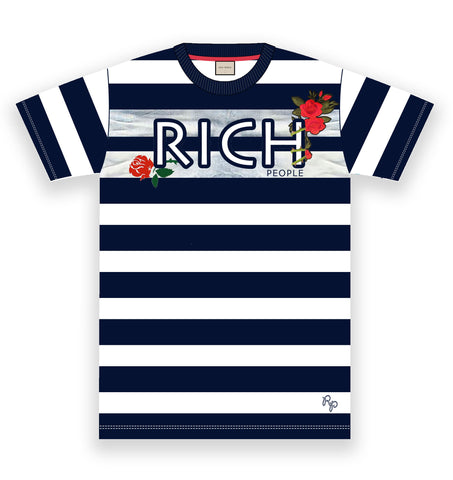 Rich Rose Embroidery Stripe Tee (Navy/Wte)