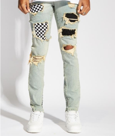 Pacific Distressed Denim (Indigo Checker) /C6