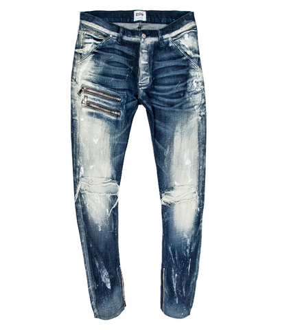 Zig Distressed Wash Denim (Blue) /C8