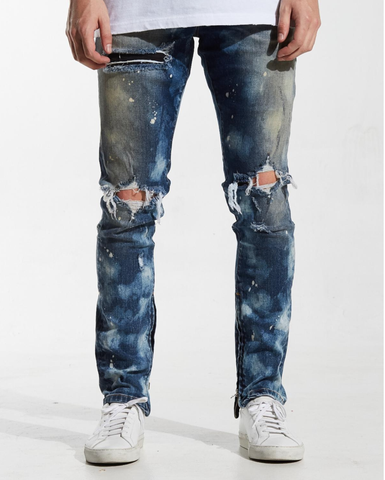Pacific Distressed Oil Stain Denim (Dusty Blue)