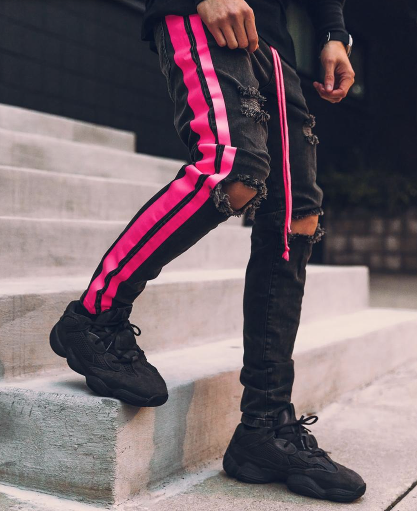 Double Striped Track Jeans V3 (Neon Pink)