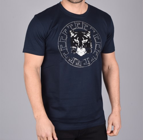 Black Cat Emblem T-Shirt (Navy)
