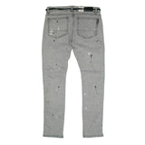 Paisley Patch Splatter Black Stripe Denim (Grey) /C8