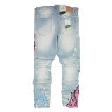 Skull & Flame Graphic Denim Pants ( Pink/Blue) /C3