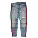 Atlantic Striped Distressed Denim (Indigo Paint) /C6
