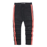 Atlantic Red Striped Distressed Denim (Black) /C6