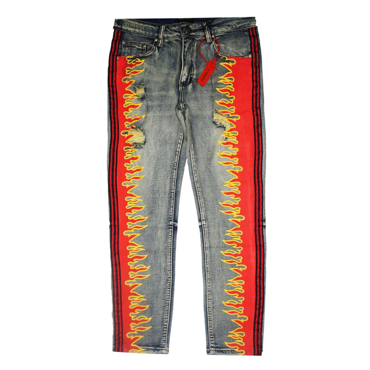 """Magma"" Stripe Jeans (Red/Black) /C6"