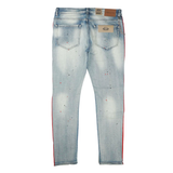 Neptune Distressed Painted Red Striped Denim (Blue) / C2
