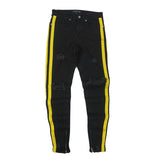 Double Striped Track Jeans (Black/Yllw) /C6