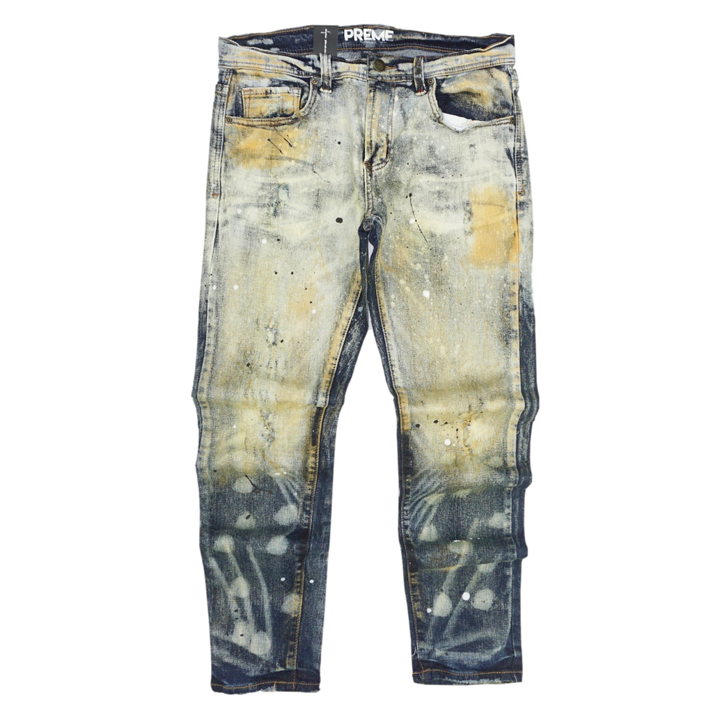 Distressed Vintage Stain Denim (Babylon Indigo) /C4