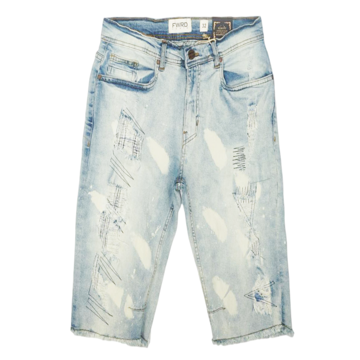 Rip Stained Wash Shorts (Vintage Blue) /C1