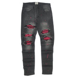 Distressed Zebra Paint Patch Denim (Dk. M.Grey) /C3