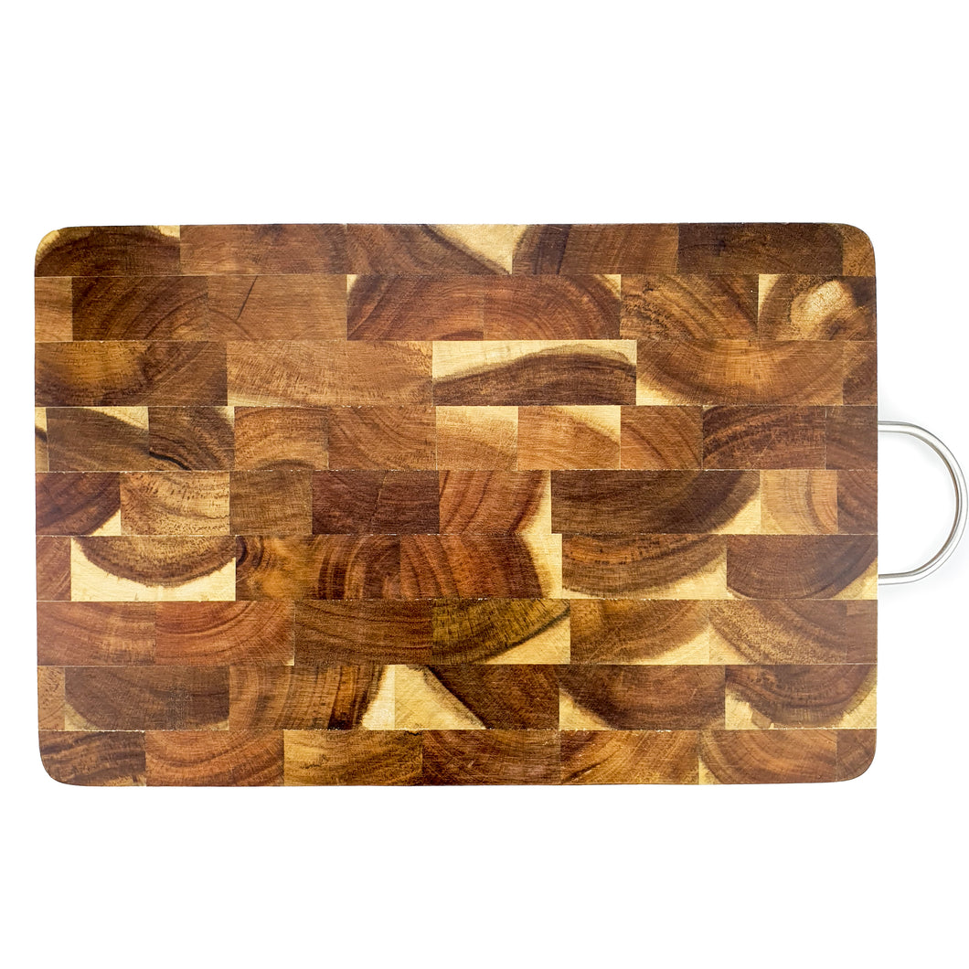 BRISSCOES - Acacia Wood Chopping Board with Stainless Steel Handle