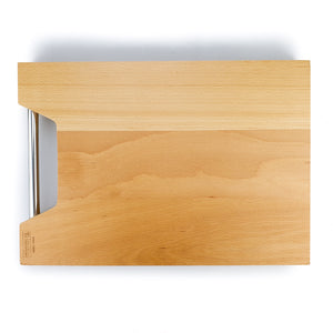 BRISSCOES - BEECH Wood Cutting Board with Built In Stainless Steel Handle