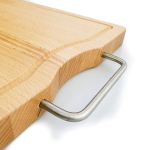 BRISSCOES - Beach Wood Cutting Board with Stainless Steel Handle