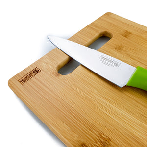 BRISSCOES - Bamboo Cutting Board with Stainless Steel Knife Set