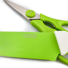 Load image into Gallery viewer, BRISSCOES - Green Teflon Coated Chef's Knife with Scissors Set