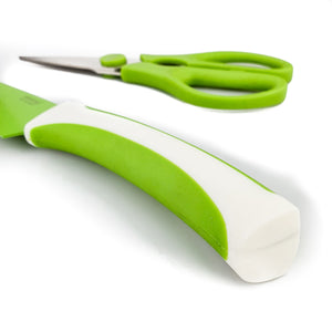 BRISSCOES - Green Teflon Coated Chef's Knife with Scissors Set