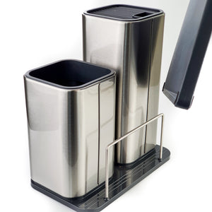 BRISSCOES - Stainless Knife Block ,Utensils Holder and Cutting Board Board with knife sharpener
